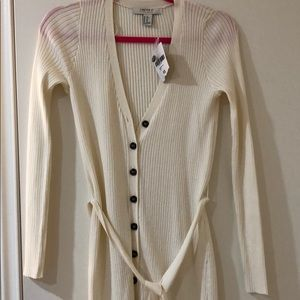 Forever 21 cream white belted sweater dress